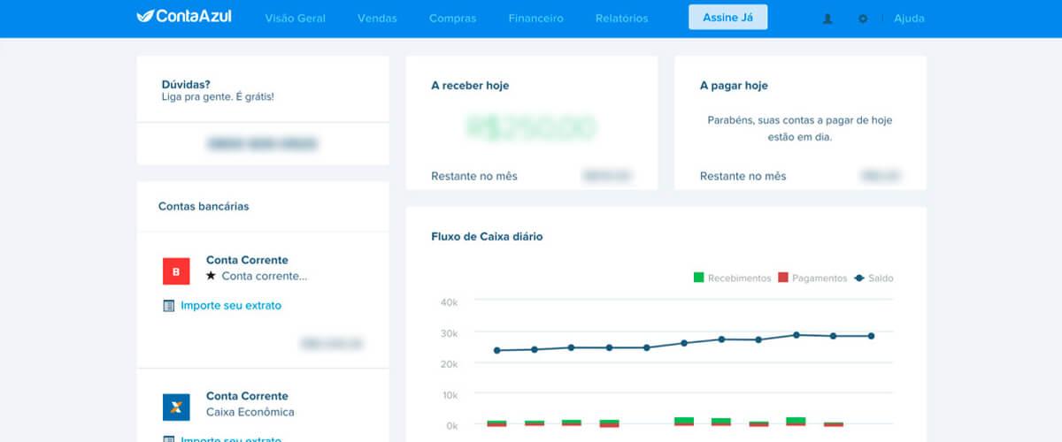 imagem que represente dashboard do sistema da Conta Azul